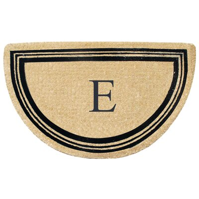 First Impression Engineered Anti Shred Treated Finlay Half Round Monogrammed Doormat Letter: E