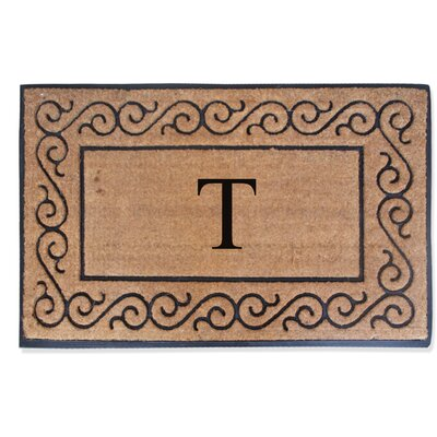 First Impression Monogrammed Double Doormat Letter: T