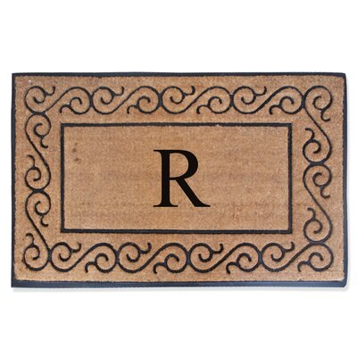 First Impression Monogrammed Double Doormat Letter: R