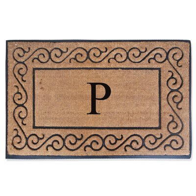 First Impression Monogrammed Double Doormat Letter: P