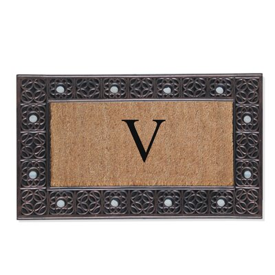 First Impression Rubber and Coir Doormat Letter: V
