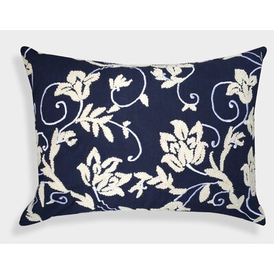 Organza Floral Embroidered Cotton Lumbar Pillow