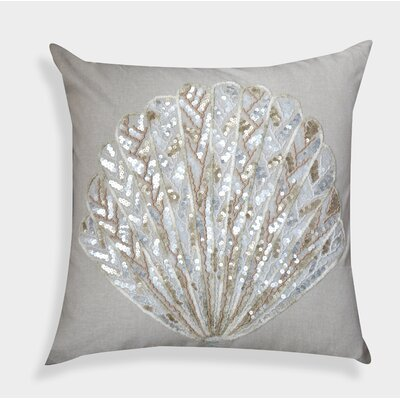 Decorative Organza Handcrafted Sequin Shell Cotton Throw Pillow