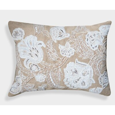 Organza Hand Embroidered Cotton Lumbar Pillow