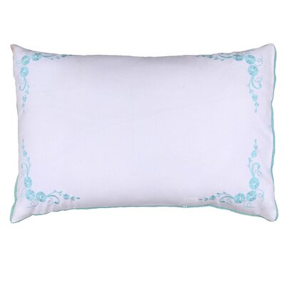 Fine Cotton Floral Embroidered Decorative Sham Color: Blue