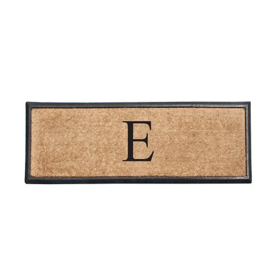 First Impression Rubber and Coir Monogrammed Double Doormat Letter: E