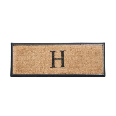 First Impression Rubber and Coir Monogrammed Double Doormat Letter: H