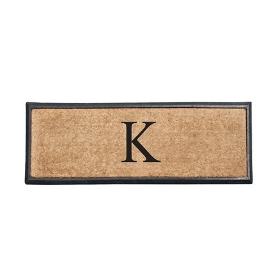 First Impression Rubber and Coir Monogrammed Double Doormat Letter: K