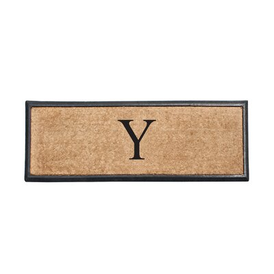 First Impression Rubber and Coir Monogrammed Double Doormat Letter: Y