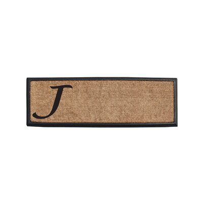 First Impression Rubber and Coir Monogrammed Double Doormat Letter: J