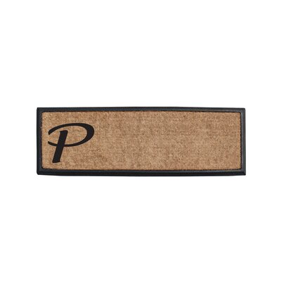 First Impression Rubber and Coir Monogrammed Double Doormat Letter: P