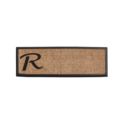 First Impression Rubber and Coir Monogrammed Double Doormat Letter: R