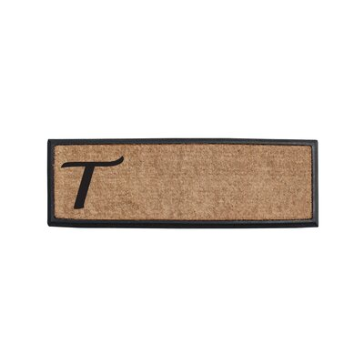 First Impression Rubber and Coir Monogrammed Double Doormat Letter: T