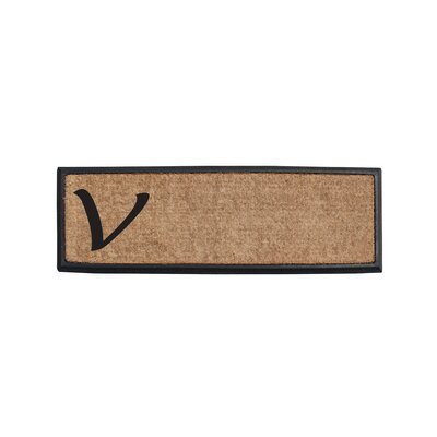 First Impression Rubber and Coir Monogrammed Double Doormat Letter: V