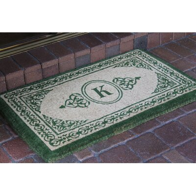 Filigree Decorative Border Monogrammed Doormat Letter: K