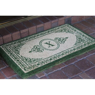 Filigree Decorative Border Monogrammed Doormat Letter: X