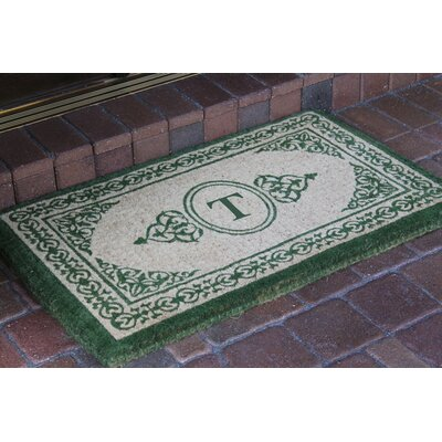 Filigree Decorative Border Monogrammed Doormat Letter: T