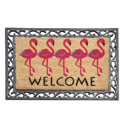 First Impression Flamingo Welcome Rubber Coir Doormat
