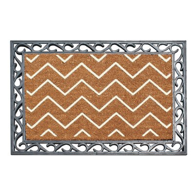 First Impression Rosway Chevron Rubber Coir Doormat