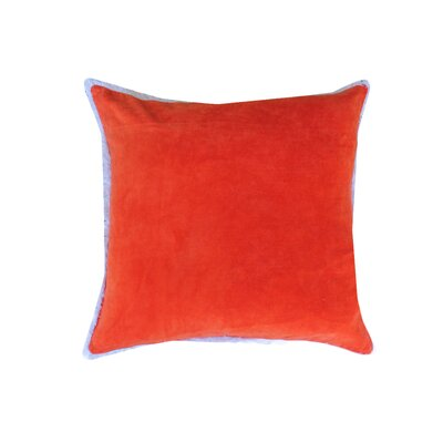 Eryn Handcrafted Designer Velvet Throw Pillow with Fringe Color: Red