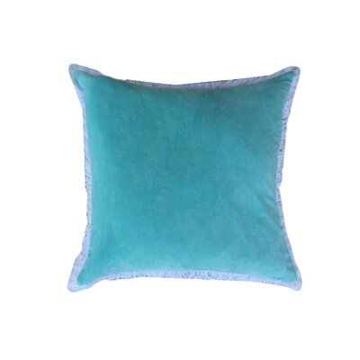 Eryn Handcrafted Designer Velvet Throw Pillow with Fringe Color: Aqua Blue