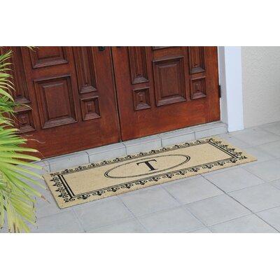 First Impression Quinton Monogrammed Coir Doormat Letter: T