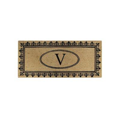 First Impression Quinton Monogrammed Coir Doormat Letter: V