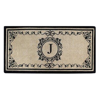 Hedvige Estate Anti Shred Monogrammed Double Doormat Letter : J