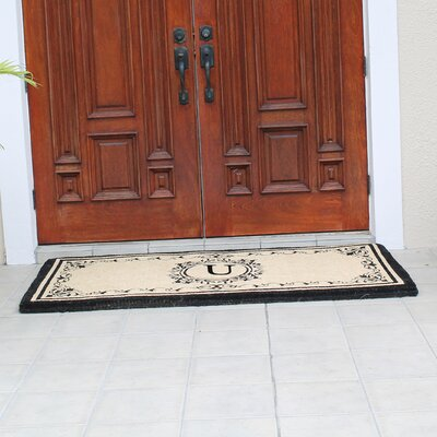 Hedvige Estate Anti Shred Monogrammed Double Doormat Letter : U