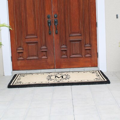 Hedvige Estate Anti Shred Monogrammed Double Doormat Letter : M