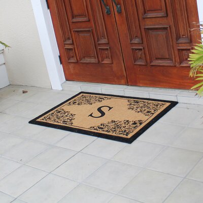 Hedvige Courtyard Entry Double Monogrammed Doormat Letter : S