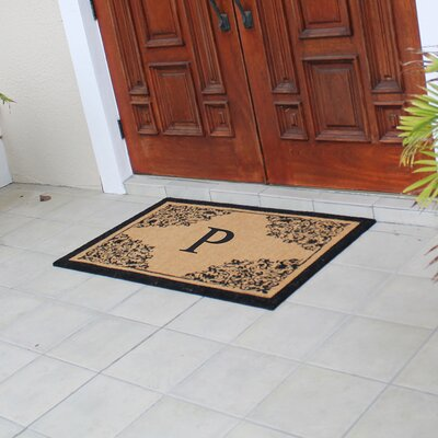 Hedvige Courtyard Entry Double Monogrammed Doormat Letter : P