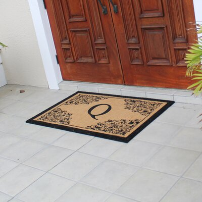 Hedvige Courtyard Entry Double Monogrammed Doormat Letter : Q