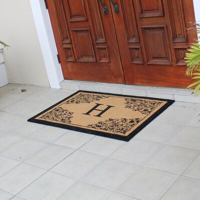Hedvige Courtyard Entry Double Monogrammed Doormat Letter : H