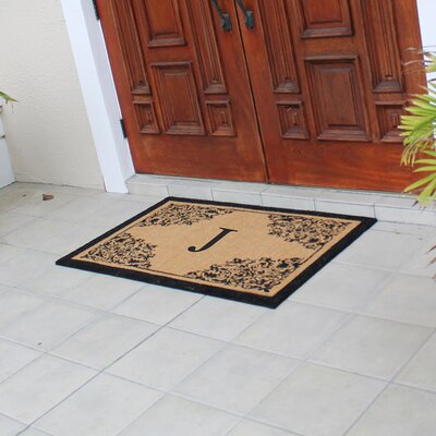 Hedvige Courtyard Entry Double Monogrammed Doormat Letter : J