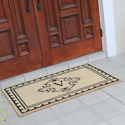 Bradford Anti Shred Treated Non-Skid Entry Monogrammed Double Doormat Letter : V