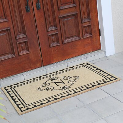 Bradford Anti Shred Treated Non-Skid Entry Monogrammed Double Doormat Letter : N