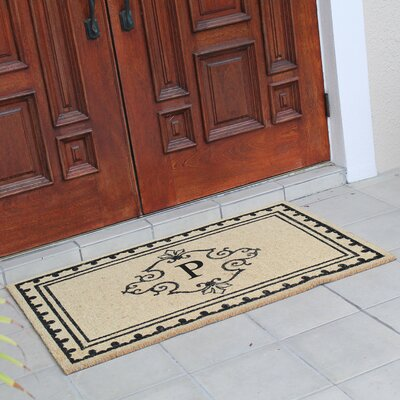 Bradford Anti Shred Treated Non-Skid Entry Monogrammed Double Doormat Letter : P