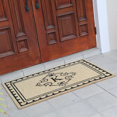 Bradford Anti Shred Treated Non-Skid Entry Monogrammed Double Doormat Letter : K