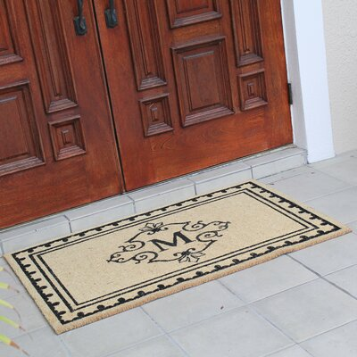 Bradford Anti Shred Treated Non-Skid Entry Monogrammed Double Doormat Letter : M