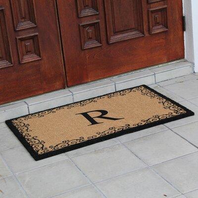 Hedvige Floral AntiShred Treated Non-Skid Monogrammed Doormat Letter : R