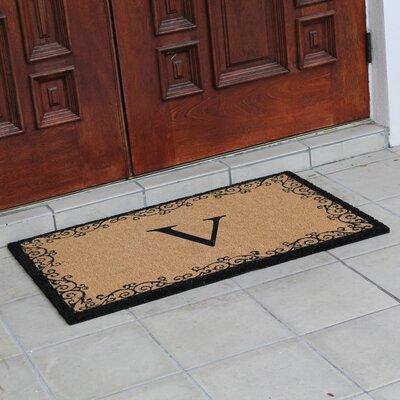 Hedvige Floral AntiShred Treated Non-Skid Monogrammed Doormat Letter : V