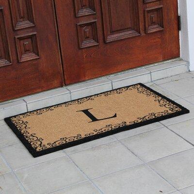 Hedvige Floral AntiShred Treated Non-Skid Monogrammed Doormat Letter : L