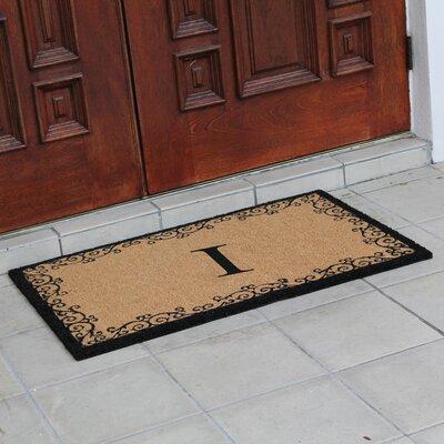 Hedvige Floral AntiShred Treated Non-Skid Monogrammed Doormat Letter : I