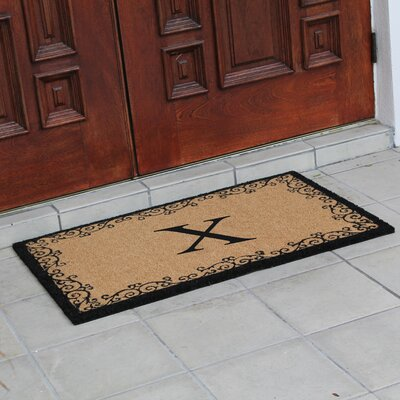 Hedvige Floral AntiShred Treated Non-Skid Monogrammed Doormat Letter : X