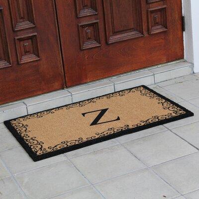 Hedvige Floral AntiShred Treated Non-Skid Monogrammed Doormat Letter : Z
