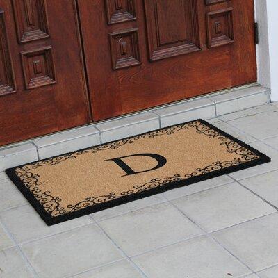 Hedvige Floral AntiShred Treated Non-Skid Monogrammed Doormat Letter : D