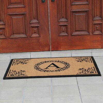 Hedvige Anti Shred Treated Non-Skid Monogrammed Entry Doormat Letter : A