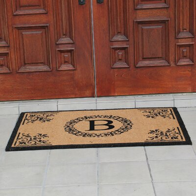 Hedvige Anti Shred Treated Non-Skid Monogrammed Entry Doormat Letter : B