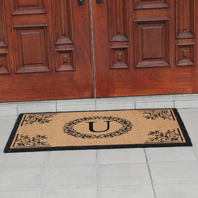 Hedvige Anti Shred Treated Non-Skid Monogrammed Entry Doormat Letter : U